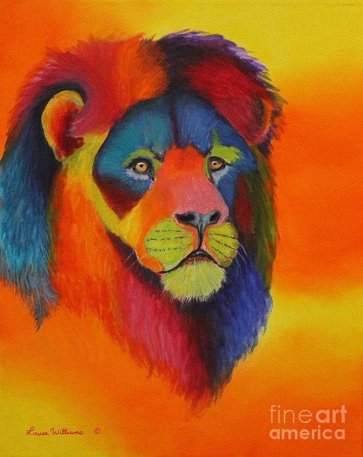 Lion Painting - Luminesent Lion  by Louise Williams