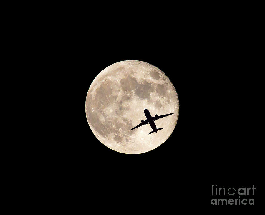 Strawberry Moon and Airliner by Kevin McCarthy