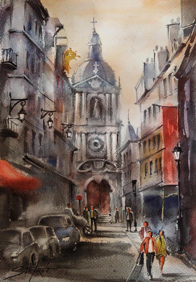 Watercolors Painting - Lunch Break by Stefano Popovski