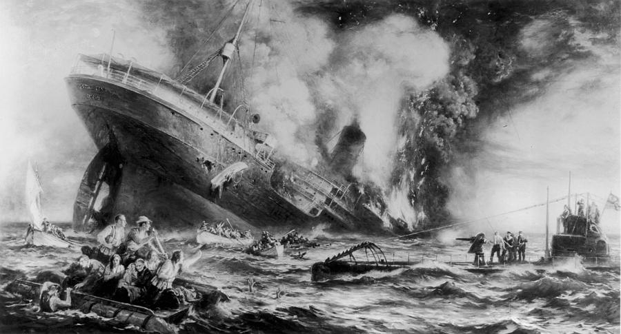 Lusitania Sunk Photograph by Three Lions