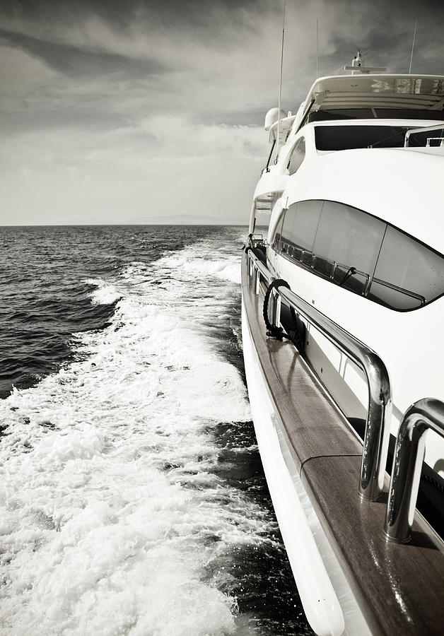 Luxury Yacht Sailing At High Speed In Photograph by Petreplesea