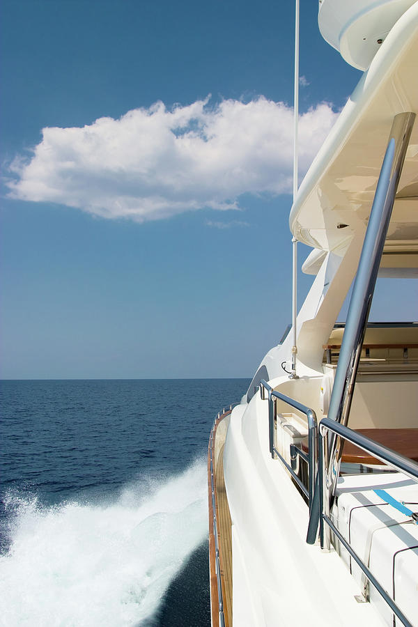 Luxury Yacht Sailing At High Speed Photograph by Petreplesea