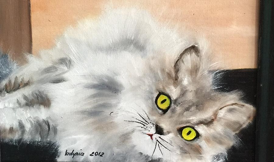 Cat Painting - Lying Cat by Ryszard Ludynia