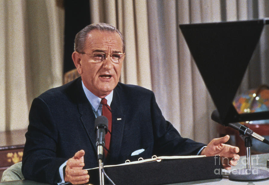 Lyndon Johnson Addressing The Nation Photograph by Bettmann