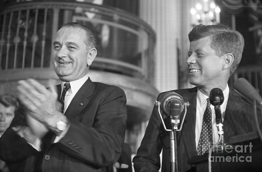 Lyndon Johnson Clapping For John Kennedy Photograph by Bettmann