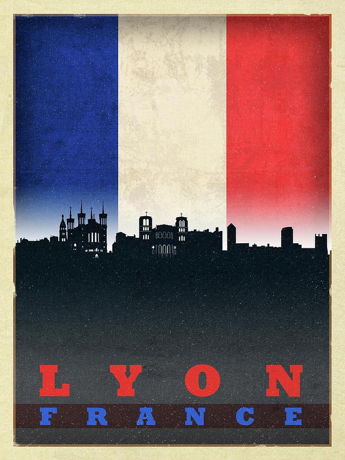 Lyon Mixed Media - Lyon France City Skyline Flag by Design Turnpike