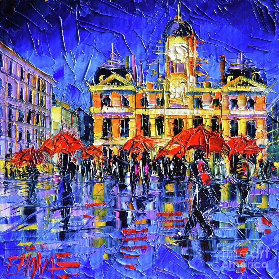 City Hall Painting - Lyon Terreaux Square At Night Palette Knife Oil Painting Mona Edulesco by Mona Edulesco