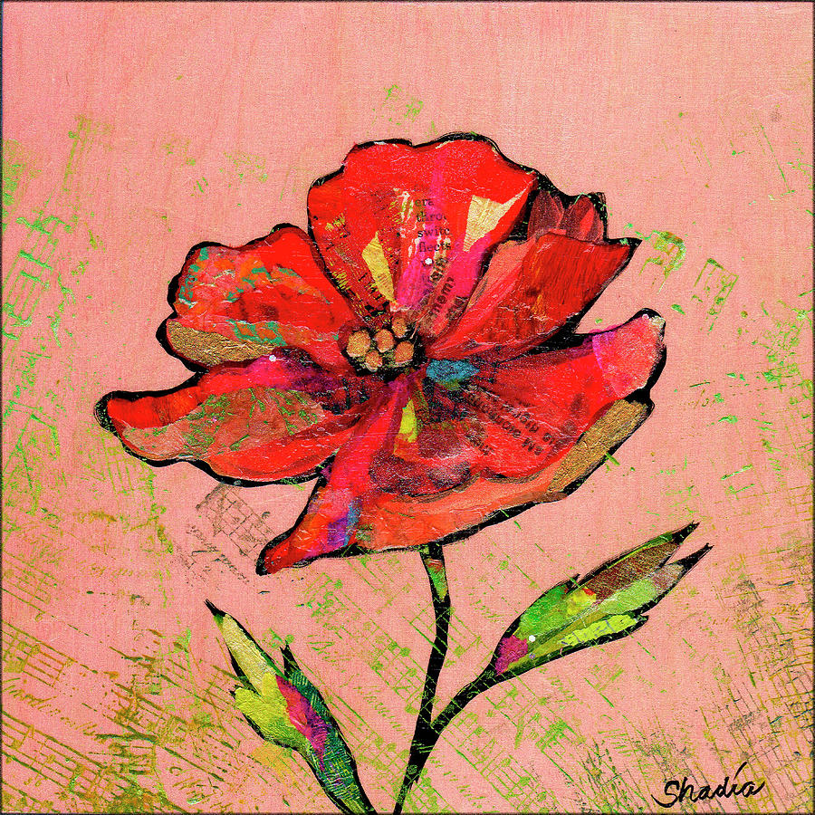 Lyrical Poppy I Painting