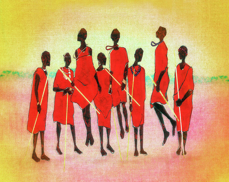 Red Digital Art - Maasai Jump by Regina Wyatt