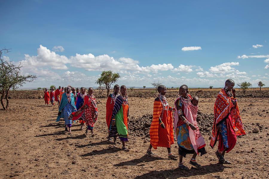 Maasai Photograph - Maasi Women by Thomas Kallmeyer