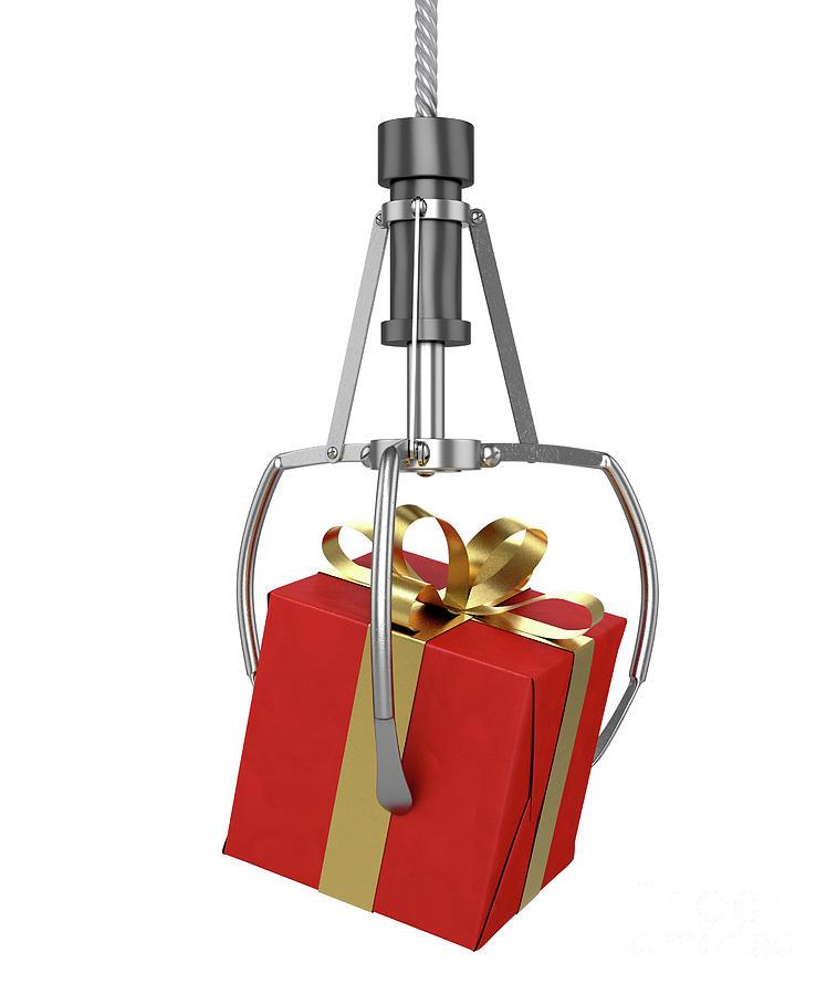 Gift Digital Art - Machine Claw Grabbing Gift by Allan Swart