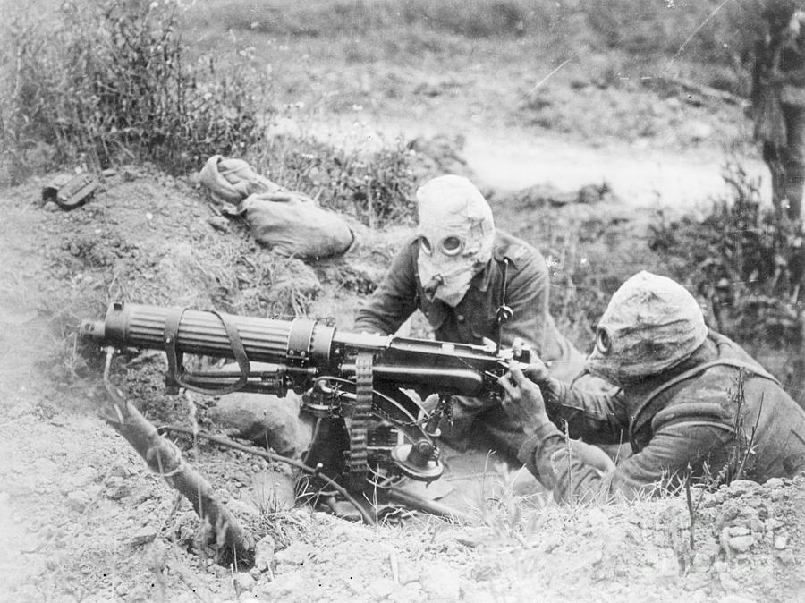 Machine Gunners Wearing Gas Masks Photograph by Bettmann