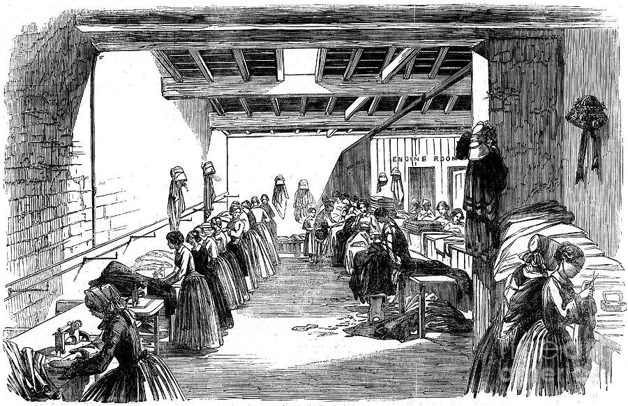 Machine Room In A Steam Sewing Factory Drawing by Print Collector