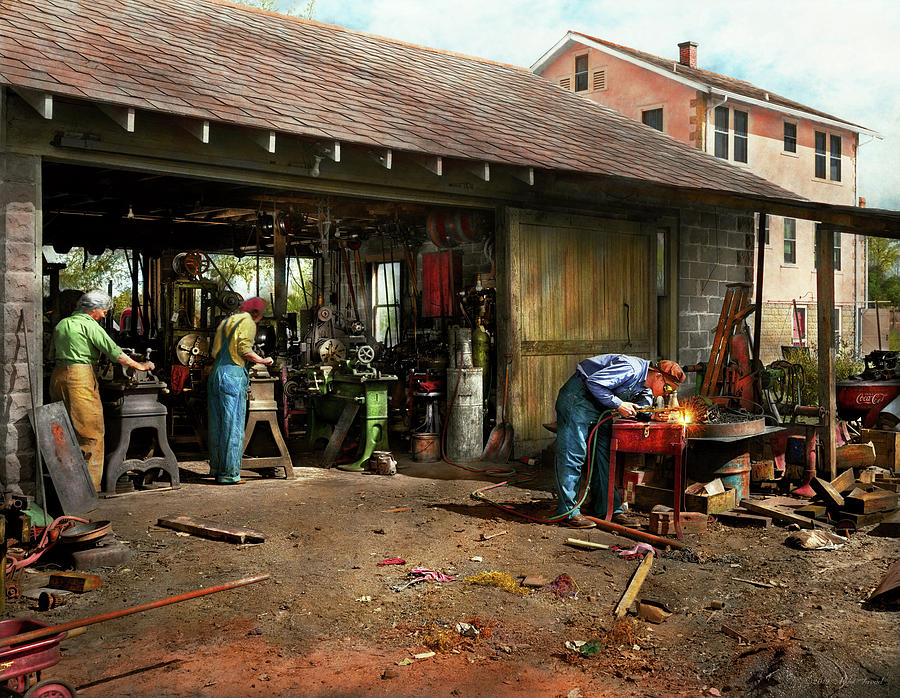Machinist - Backyard machinists 1942 by Mike Savad