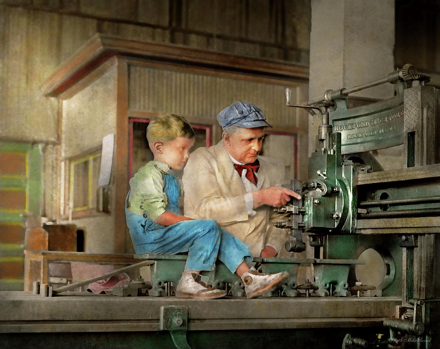 Machinist Photograph - Machinist - Spending time with grandpa 1921 by Mike Savad