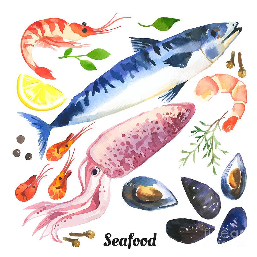 Pepper Digital Art - Mackerel. Scomber. Watercolor Set Of by Monash