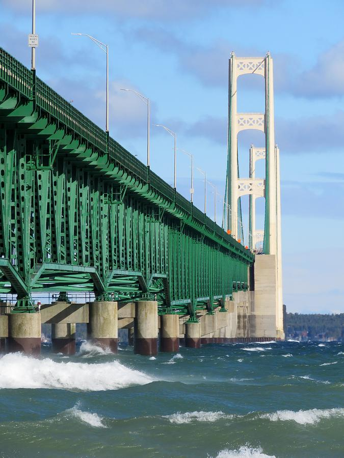 Mackinac Bridge and Waves by Keith Stokes