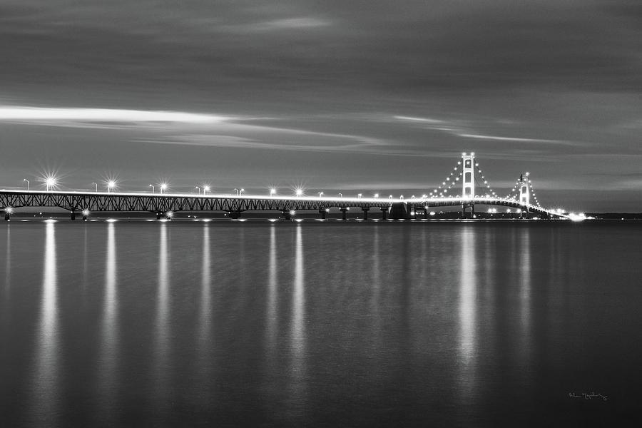 Michigan Photograph - Mackinac Bridge Bw by Alan Majchrowicz