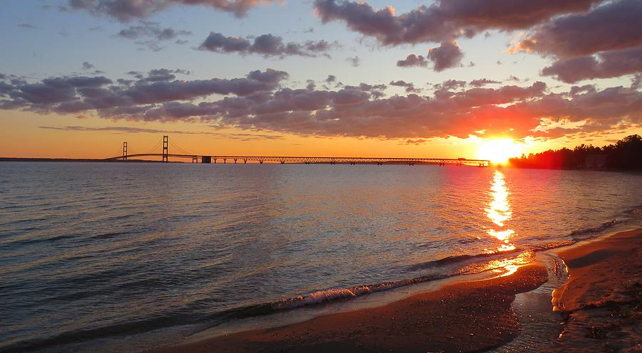 Mackinac Bridge Sunrise Panorama by Keith Stokes