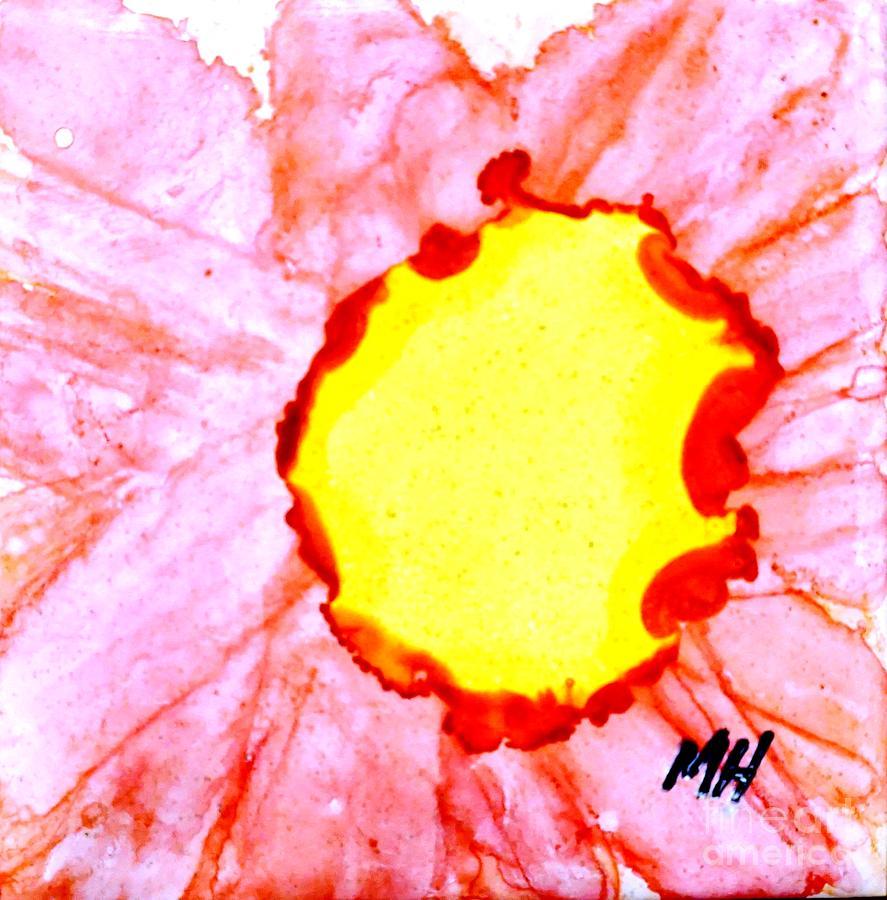 Pink Painting - Macro Gerbera Center On Tile by Marsha Heiken