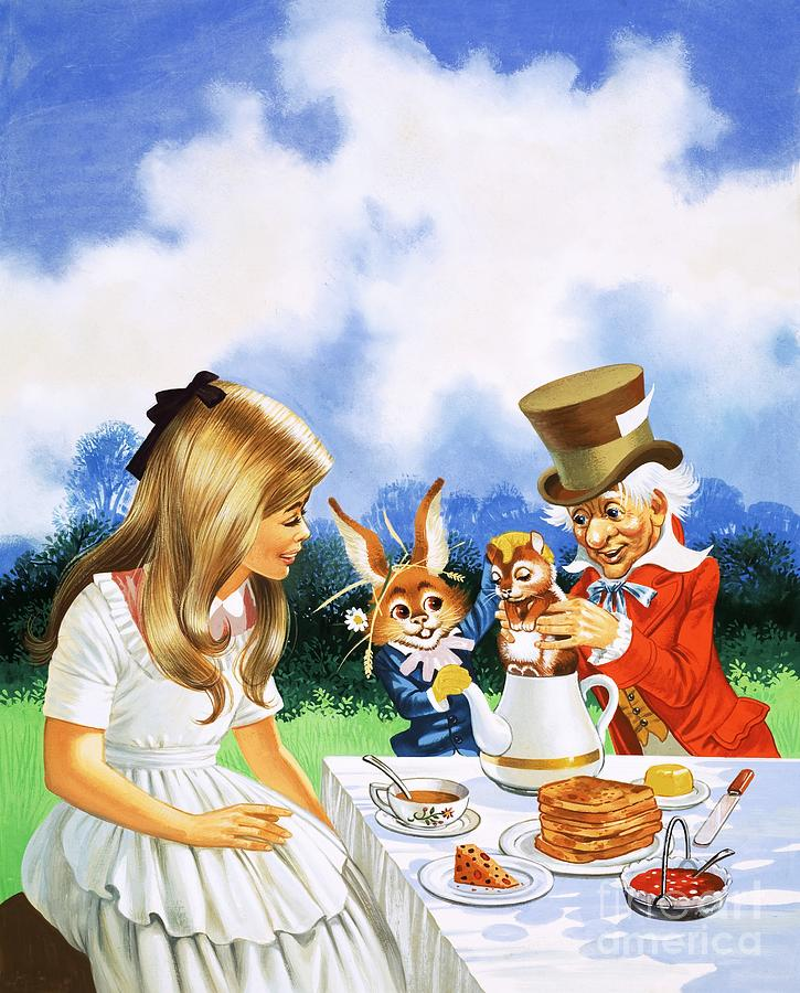 Mad Hatters Tea Party Painting By English School