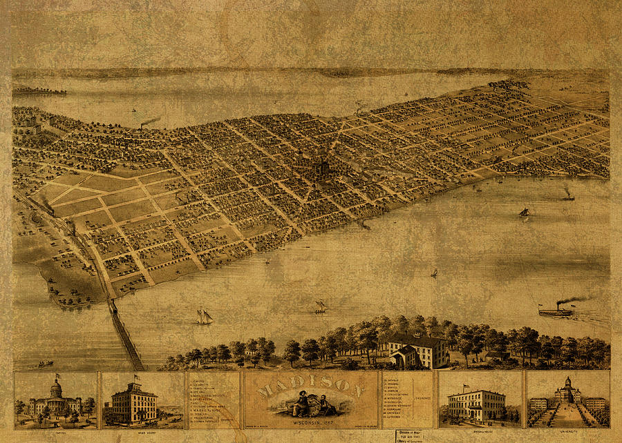 Map Madison Wisconsin 1867 Vintage Picture Canvas Art Print