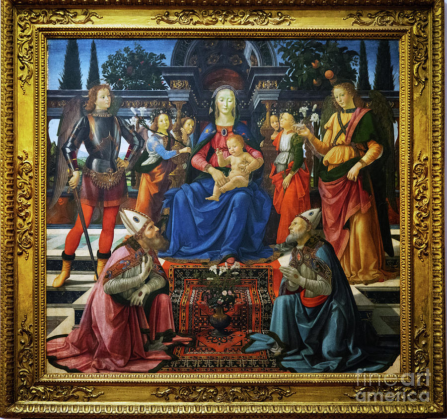 Italy Photograph - Madonna And Child Enthroned With Four Angels Domenico Ghirlandaio Uffizi by Wayne Moran