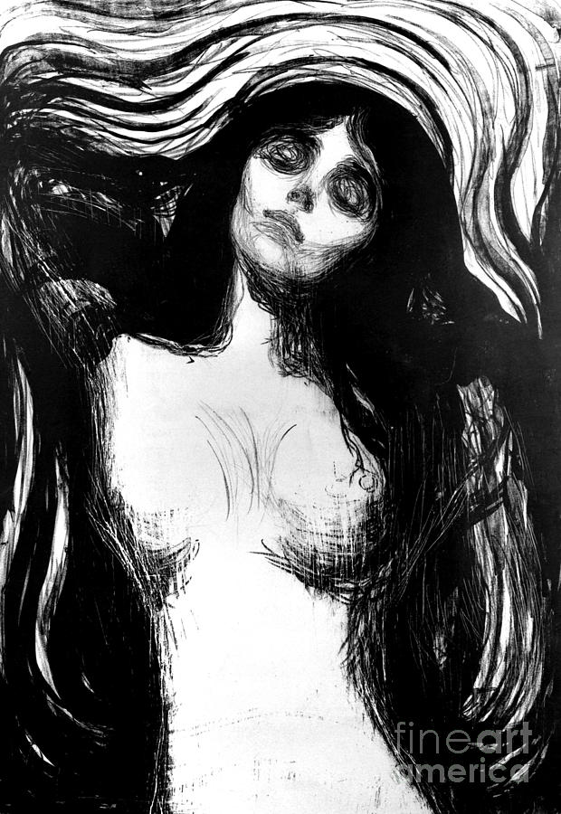 Madonna, lithograph by Edvard Munch dedicated to Dr Bucher by Edvard Munch