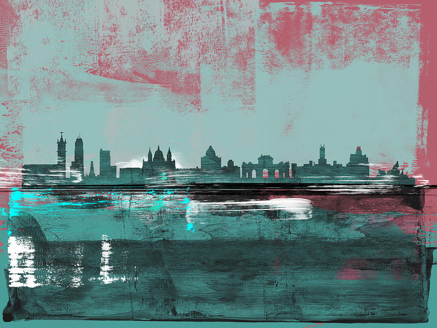 Madrid Mixed Media - Madrid Abstract Skyline  by Naxart Studio