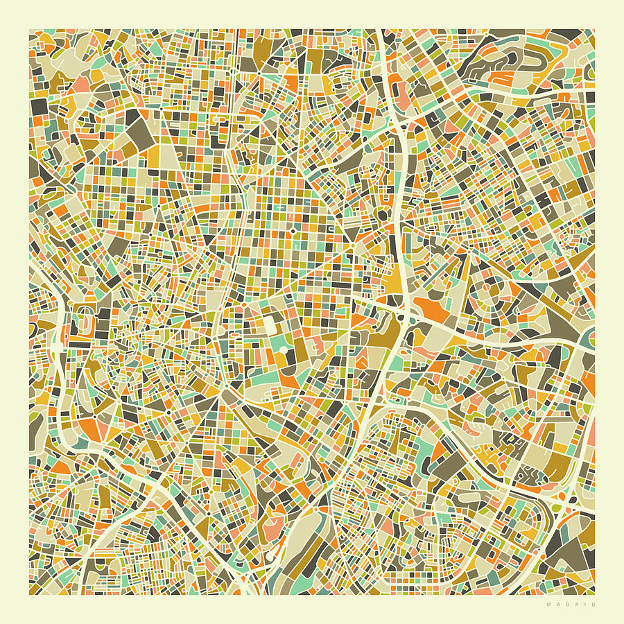 Spain Map Digital Art - Madrid Map 1 by Jazzberry Blue