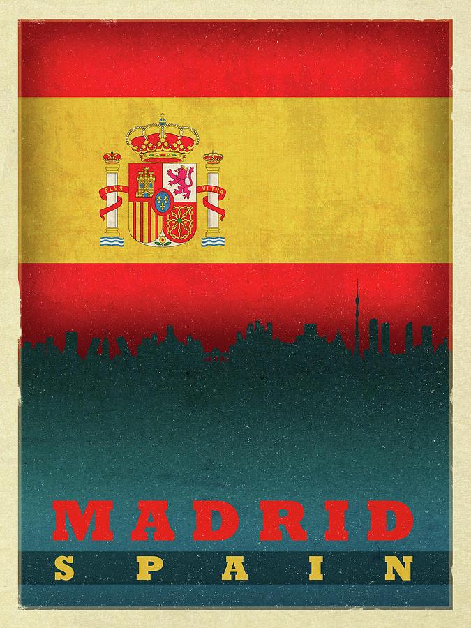 Madrid Mixed Media - Madrid Spain City Skyline Flag by Design Turnpike