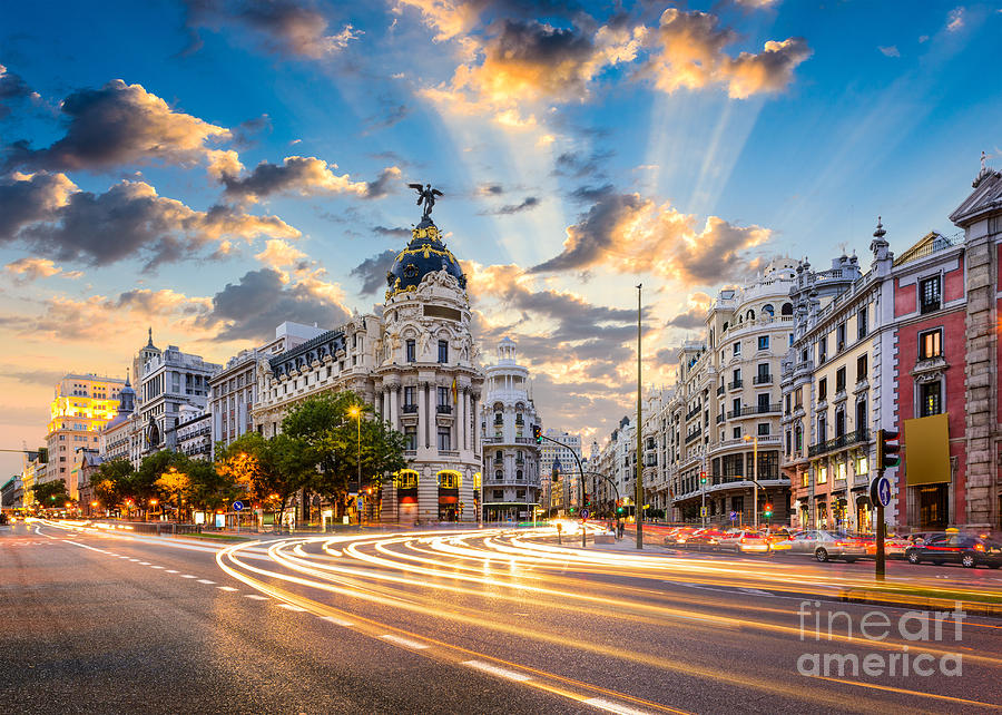 Boulevard Photograph - Madrid Spain Cityscape At Calle De by Sean Pavone