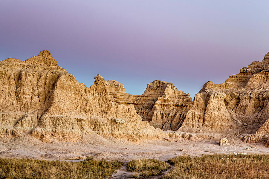 Badlands Photograph - magenta Dawn in the Badlands  by Jim Thompson