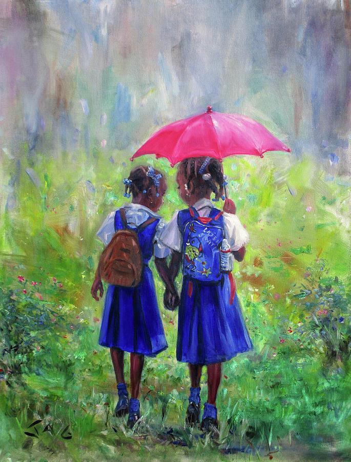 School Children Painting - Magenta Umbrella by Jonathan Guy-Gladding JAG