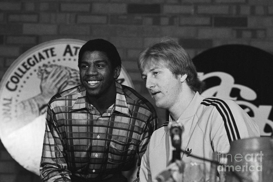 Magic Johnson And Larry Bird At Press Photograph by Bettmann