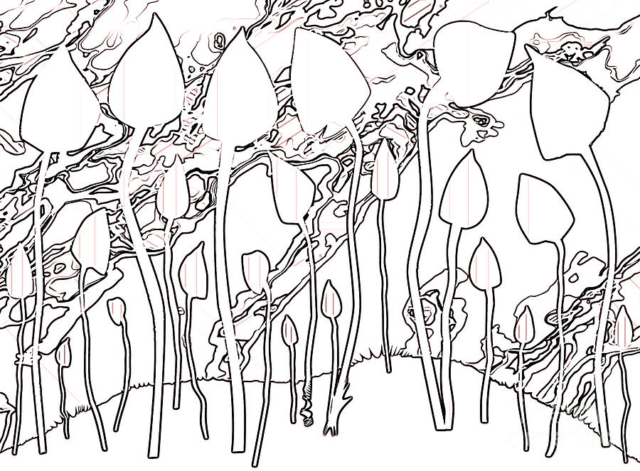 Magic Mushrooms Abstract Line Drawing Background