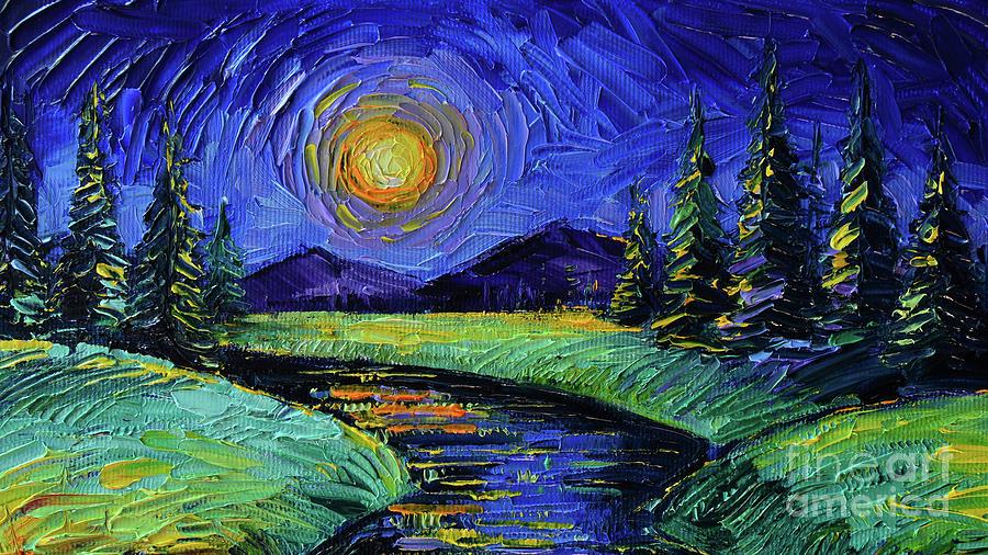 Magic Night Painting - Magic Night - Detail 1 - Fantasy Landscape by Mona Edulesco