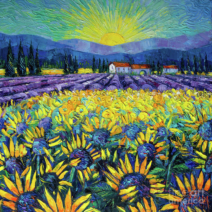 MAGIC OF PROVENCE - Sunflowers and Lavender - Palette knife painting Mona Edulesco by Mona Edulesco