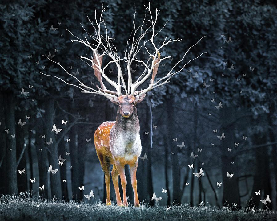 Magical Deer Mixed Media by Ata Alishahi
