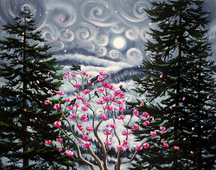 Magnolia and Pine Trees in Early Spring by Laura Iverson
