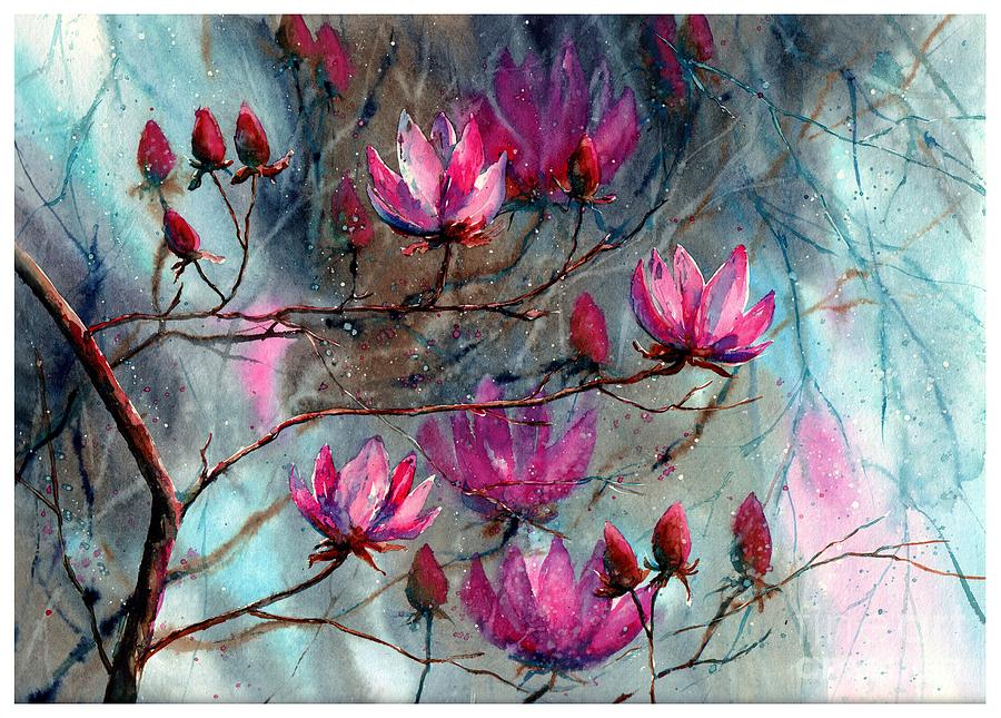 Night Painting - Magnolia At Midnight by Suzann Sines