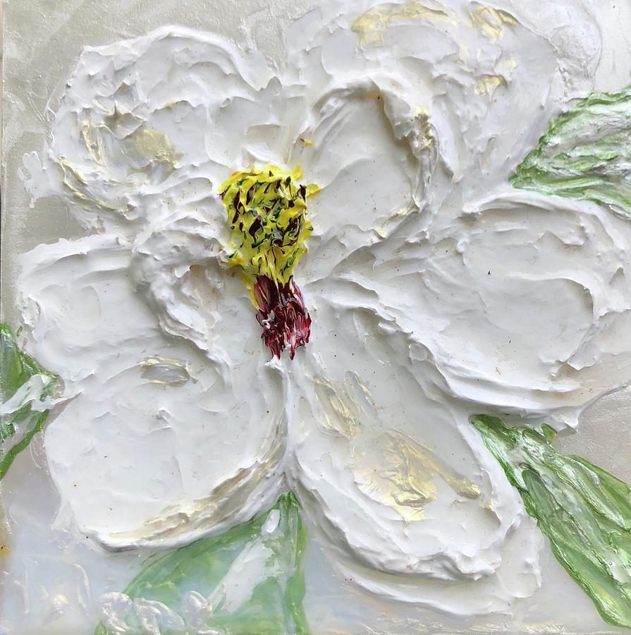 Magnolia Bloom White on White by Julene Franki