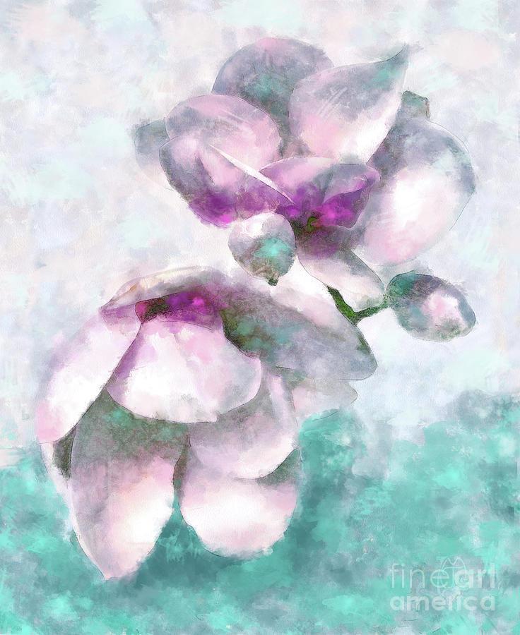 Magnolias Watercolor Impressionist Floral Art by Tina Lavoie
