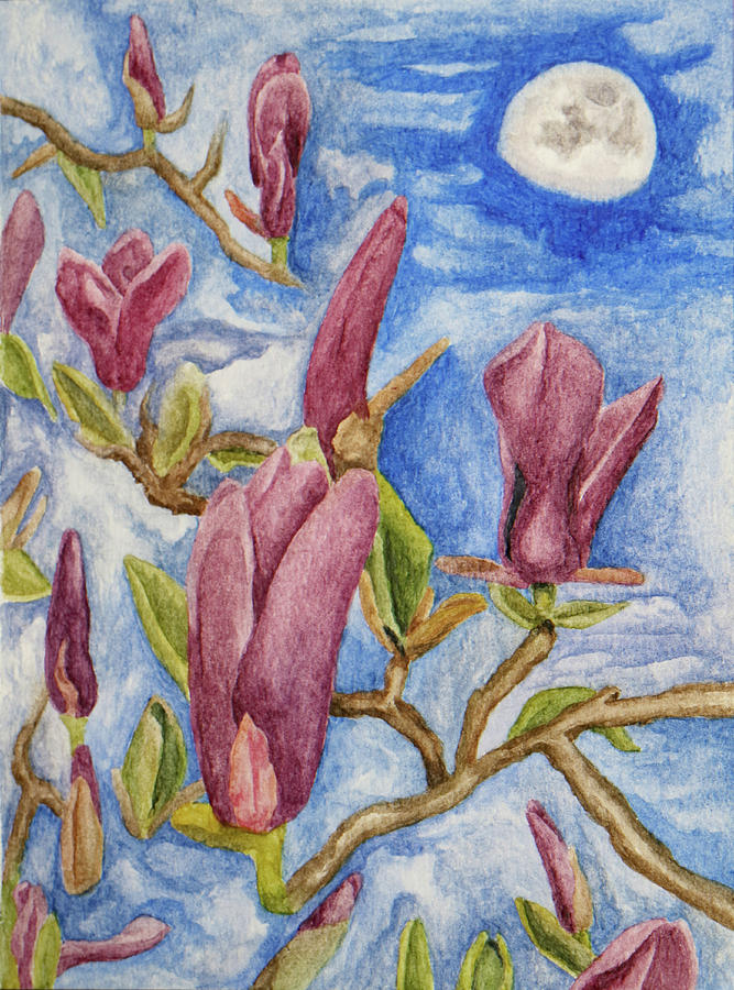 Magnolias with Daytime Moon by Robert Morin