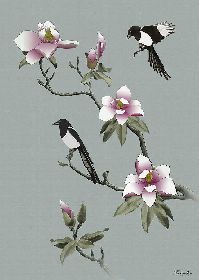Magpies and Magnolia by Spadecaller