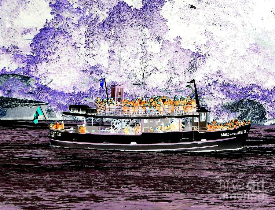 Maid of the Mist Boat at Niagara Falls Inverted Infrared Effect by Rose Santuci-Sofranko