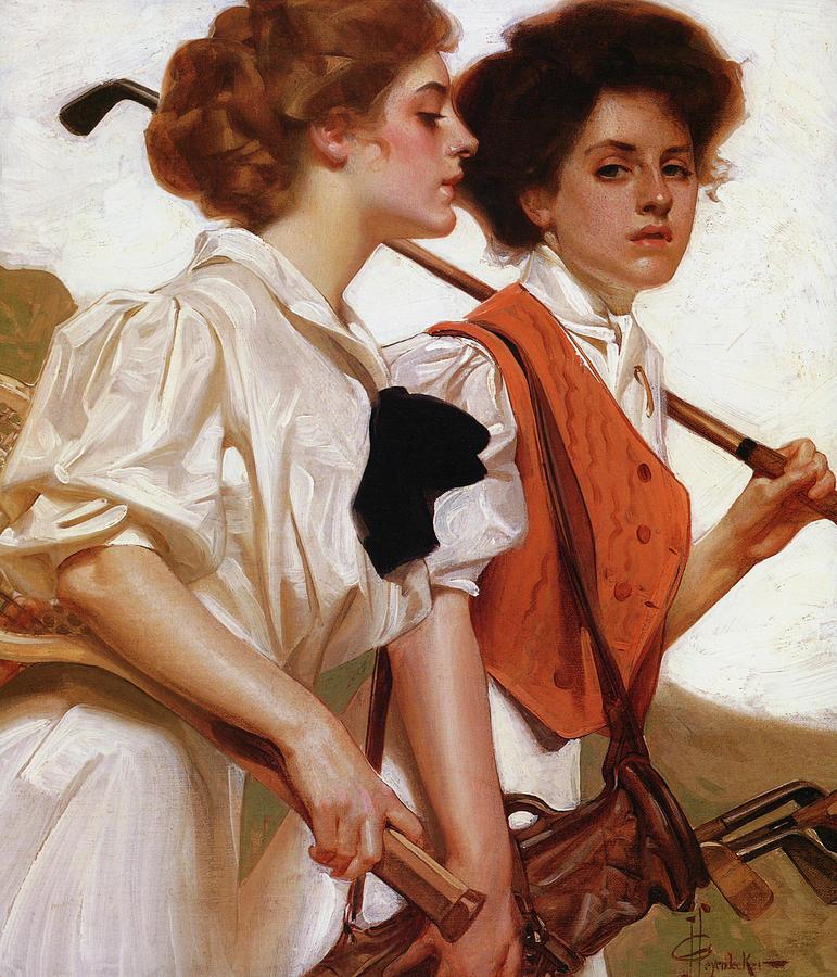 Joseph Christian Leyendecker Painting - Maidens Playing Golf And Tennis - Digital Remastered Edition by Joseph Christian Leyendecker
