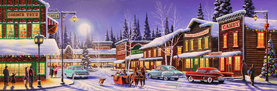 Panoramic Painting - Main Street Christmas by Geno Peoples