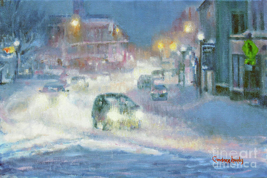 Main Street Evening Snow by Candace Lovely