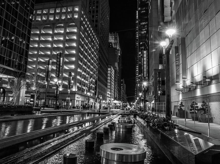 Main Street Square Houston Black And White by Dan Sproul
